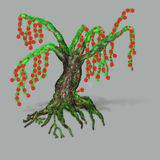 Fantasy tree with red blossoms Stock Image