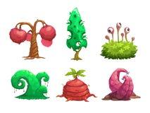 Fantasy tree set. Vector fantastic plants icons. Isolated on white background Stock Image