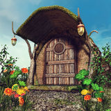 Fantasy tree trunk cottage. With colorful flowers, clover and coins stock illustration