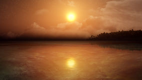 Fantasy Tropical Environment. Tropical environment with palm tree island, clouds, sun, birds, and stars in the sky. Sunset on a warm tropic atmosphere vector illustration