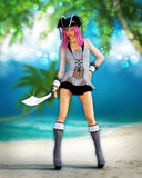 Fantasy Tropical Pirate Art Royalty Free Stock Image