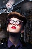 Fantasy - UFO Reflects in Woman Sunglasses Stock Image