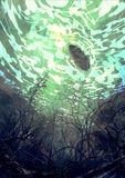 Fantasy underwater painting. Digital painting showing underwater view with the tree branch and stones,waves and reflection of the sun Stock Photography