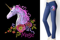 Fantasy unicorn embroidery patch sticker. Pink violet mane horse flower arrange poppy rose on blue woman jeans mockup Royalty Free Stock Photos