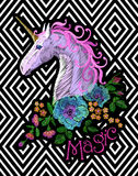 Fantasy unicorn embroidery patch sticker. Pink violet mane horse flower arrange poppy rose on geometric stripe. Background. Cartoon badge magic vector Royalty Free Stock Photography