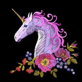 Fantasy unicorn embroidery patch sticker. Pink violet mane horse flower arrange poppy rose ornament. Cartoon badge magic Royalty Free Stock Images
