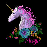 Fantasy unicorn embroidery patch sticker. Pink violet mane horse flower arrange poppy rose ornament. Cartoon badge magic. Vector illustration art Stock Photography