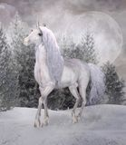 Fantasy unicorn in a snowy forest. Beautiful unicorn in a magic winter scenery under full moon - 3D illustration royalty free illustration