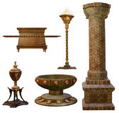 Fantasy urns and columns. 3D render of fantasy objects: urn, vase, column, and torch Royalty Free Stock Image
