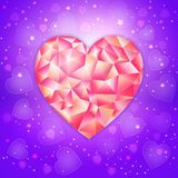 Fantasy Valentines day romantic design with low poligonal jewel heart on an ultraviolet background. The illustration will fit perfectly as a greeting card or Stock Photos