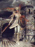 Fantasy valkyrie. In front of a burning castle Stock Photo
