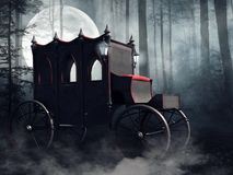 Vampire carriage in a dark forest royalty free illustration