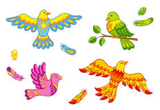 Fantasy vector birds and feathers Royalty Free Stock Photography