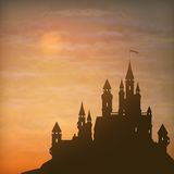 Fantasy Vector Castle Moonlight Sky. Fantasy vector castle silhouette on the hill against moonlight sky with soft clouds texture Stock Photos