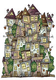 Fantasy vector fairy-tale drawing town Stock Photos