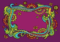 Fantasy vector fairy-tale floral frame Royalty Free Stock Photo