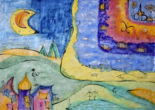 Fantasy Village. Abstract landscape, painted and sketched in mixed media technique by the photographer Stock Image