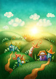 Fantasy village. With funny houses Royalty Free Stock Photography