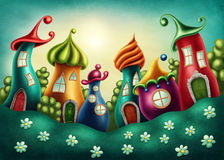 Fantasy village. With funny houses Stock Images