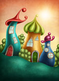 Fantasy village. With funny houses Stock Photos