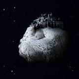 Fantasy Village in Space. An inmage of a village on a meteor rock in space. It is a compilation of (parts of) two photo's Stock Photo
