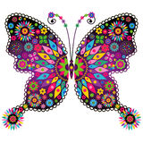 Fantasy vivid vintage butterfly. Fantasy spring vintage vivid colorful butterfly with flowers isolated on white (vector Royalty Free Stock Photography
