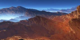 Fantasy volcanic rocks desert landscape Royalty Free Stock Photo