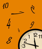 Fantasy Wall clock and disorder. Wall clock in the corner with the order of the numbers inverted in a colored background Stock Photography