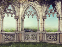 Fantasy wall with vines Royalty Free Stock Photography