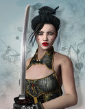 Fantasy warrior. Beautiful fantasy warrior with sword Royalty Free Stock Images