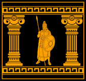 Fantasy warrior with columns Royalty Free Stock Images