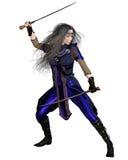 Fantasy Warrior Princess Fighting. Fantasy Warrior Princess in a fighting pose with two swords, 3d digitally rendered illustration Stock Images