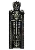 Fantasy warrior statue. Illustration stone statue in fantasy armor, with a weapon, dressed in a helmet like a demon head Royalty Free Stock Photos