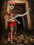 Fantasy warrior with a sword. Fantasy ancient warrior with a big scorpion sword Royalty Free Stock Images