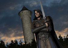 Fantasy Warrior With Sword Illustration  Royalty Free Stock Images