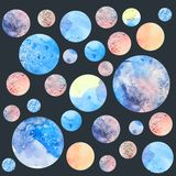 Fantasy watercolor planets. Illustration of fantasy watercolor planets Stock Images