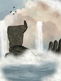 Fantasy waterfall. With stone in the sky