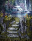 Fantasy waterfalls stock illustration