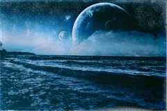 Fantasy Wavy Blue Shoreline Vintage Old Photo. Wave shoreline fantasy environment with huge planets and moons with celestial elements such as stars and nebula Stock Photography