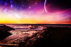Fantasy Wavy Ocean With Planets And Channel Water. Wavy shoreline and channel water fantasy environment with huge ringed planet and stars with celestial elements Stock Images