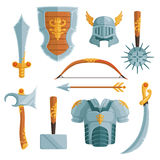 Fantasy weapons in cartoon style. Vector illustrations set Stock Image