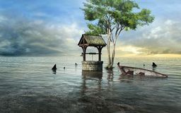 Fantasy well flooded by the sea. Surrealistic scene with well, sunken boat and tree Royalty Free Stock Photo