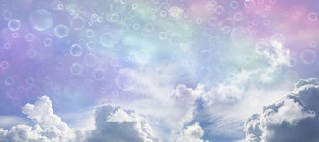 Fantasy Wide Blue Sky and Bubbles stock illustration
