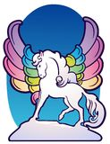 Fantasy winged horse with rainbow feathers. Royalty Free Stock Photos