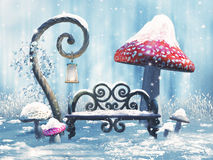 Fantasy winter bench and mushrooms Royalty Free Stock Photo