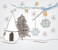 Fantasy winter landscape. Original drawn fantasy landscape with snow, artistic branch and a fantasy house Stock Image