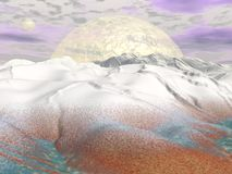 Fantasy winter landscape - 3D render Royalty Free Stock Image