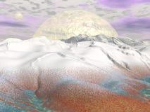 Fantasy winter landscape - 3D render Royalty Free Stock Image