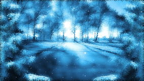 Fantasy winter landscape background. Looped falling snow and winter landscape background stock video