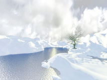 Fantasy winter landscape. 3D render of fantasy winter mountains landscape with a tree Royalty Free Stock Images